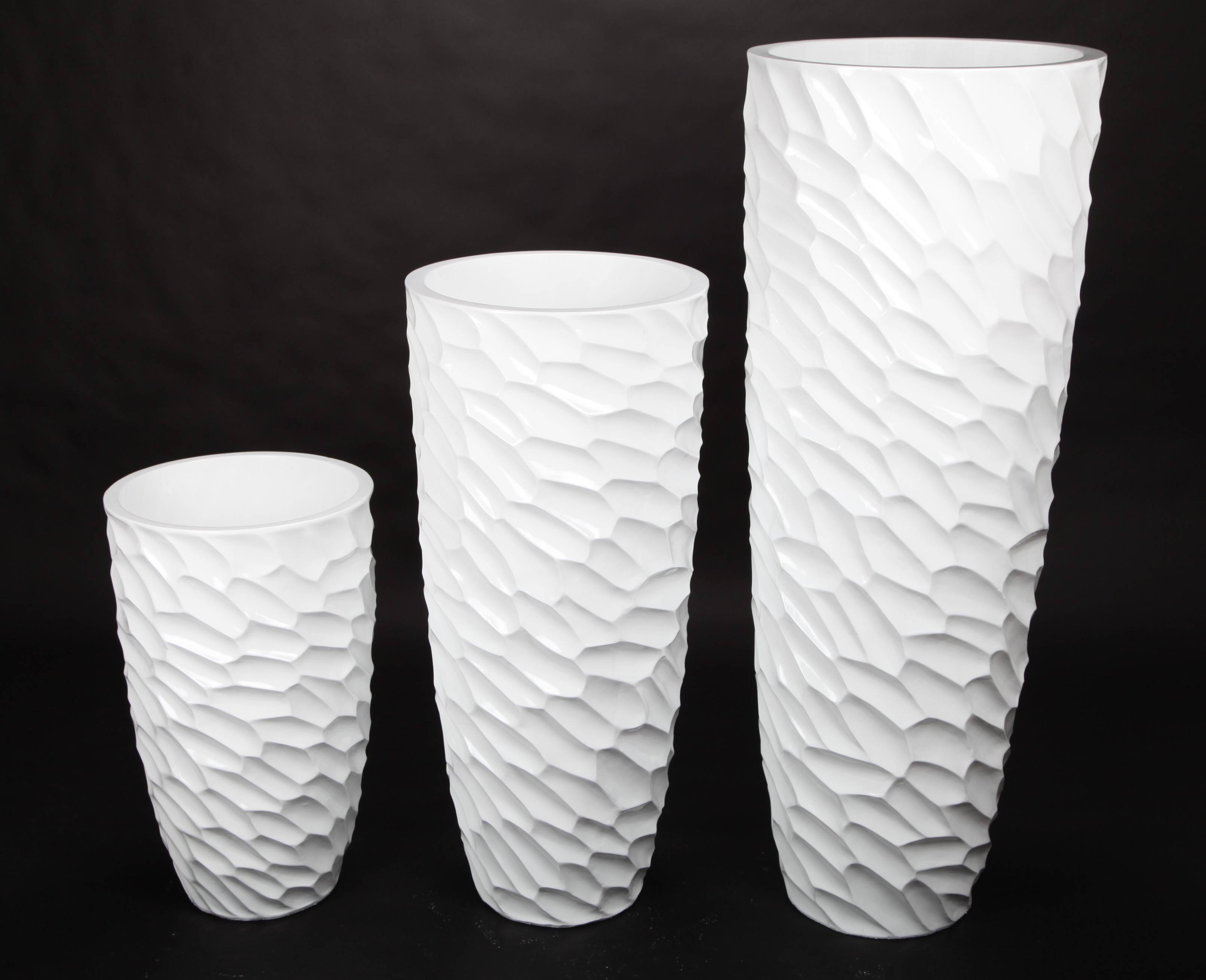 point-home Blumenkübel Pflanzkübel Pflanzgefäß aus Fiberglas für Innen