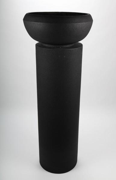 Blumentopf mit Säule, schwarz, 145cm - für Innen und Außen