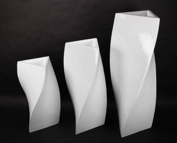 3x Blumentopf, Pflanzkübel aus Fiberglas, weiß, 71-120cm