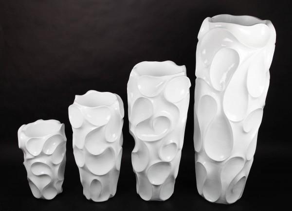 4x Blumentopf, Pflanzkübel aus Fiberglas, weiß, 28-121cm
