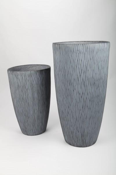 2x Blumentopf, Pflanzkübel, grau, 48/66cm - für Innen und Außen
