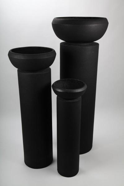 3x Blumentopf mit Säule, schwarz, 94-145cm - für Innen und Außen